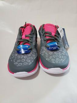NEW Girls Athletic Champion Shoes Grey with Print and Pink A