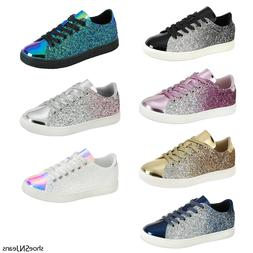 New Women Sequin Glitter Sneakers Athletic Tennis Walking Co