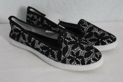 NEW Womens Tennis Shoes Size 7 Black Silver Floral Flats Lad