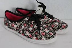 NEW Womens Tennis Shoes Size 8 Floral Roses Flats Canvas Lac