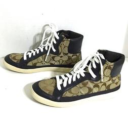 NWOB Coach Ellis High Tops Shoes Size 8.5 Brown/Tan ~ NEVER