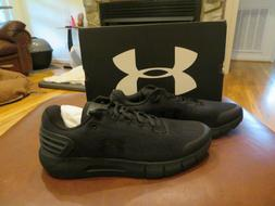 NWT Mens Black Under Armour Charged Rogue Tennis Shoes, 14