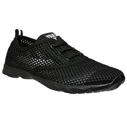 ALEADER Women's Quick Drying Aqua Water Shoes CarbonBlack 9