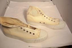 Rare Vintage BATA White Canvas Tennis Shoes Men Size 8 Made