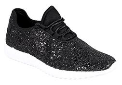 Forever Link Women's Remy-18 Glitter Lace-up Low Top Fashion