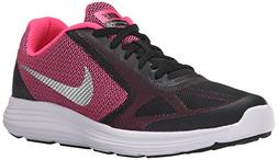 NIKE Girls' Revolution 3 Running Shoe , Black/Metallic Silve