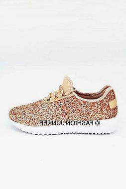 Rose Gold Glitter Bomb Sneakers Tennis Shoes Lace Up Flats C