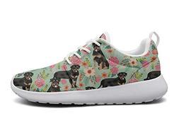 LOKIJM Rottweiler Dog and Floral Print Tennis Shoes for Men