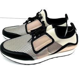 Massini Size 9 Dressy Tennis Shoes Metallic Rose Gold Black