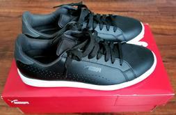 PUMA Smash Perf C Black Leather Tennis Shoes Athletic - Mens