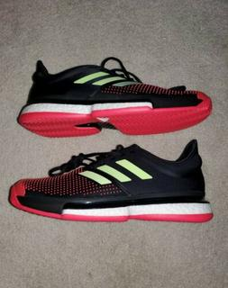 Adidas Sole Court Boost Tennis Shoes Black Shock Red Yellow