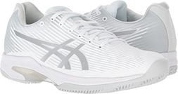 ASICS Womens Solution Speed FF Clay Tennis Shoe, White/Silve