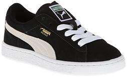 PUMA Suede Junior Sneaker  , Black/White, 6.5 M US Big Kid