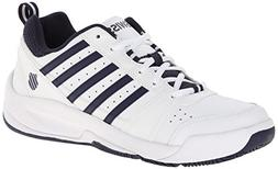 K-SWISS Men's Vendy II Everyday Tennis Shoe, White/Navy, 6.5
