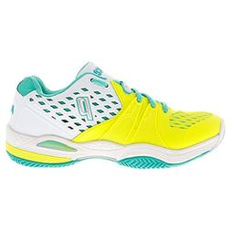 Women`s Warrior Clay Court Tennis Shoes White and Lemon