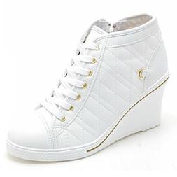 Epicsnob Womens Shoes White High Top Canvas Simple Lace Up S