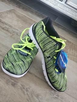 Woman Tennis Shoes Memory Foam in Neon Green/Black in size 8