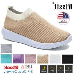 Women Flat Running Sneakers Walking Breathable Mesh Slip On