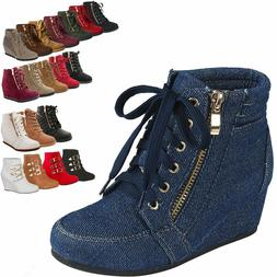 Women High-Tops Wedge Heel Sneakers Platform Lace Up Tennis