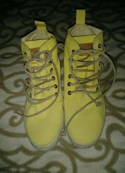 Blackstone Women's Canvas High Top Tennis Shoes Yellow Size