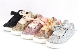 Women Sequin Glitter Sneakers Tennis Lace Up Comfort Walking